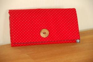 Klapp- und Clutchgeldbeutel Rot mit weißen Punkten